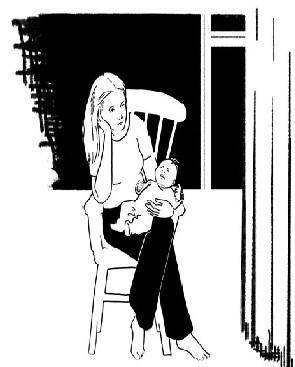Madre con depresión post-parto